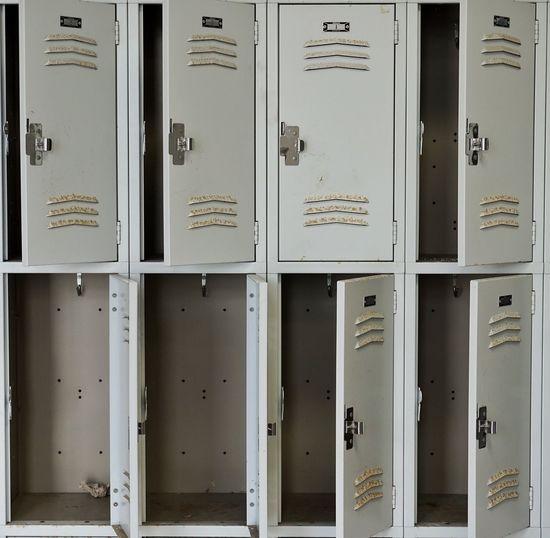 Full frame shot of open lockers