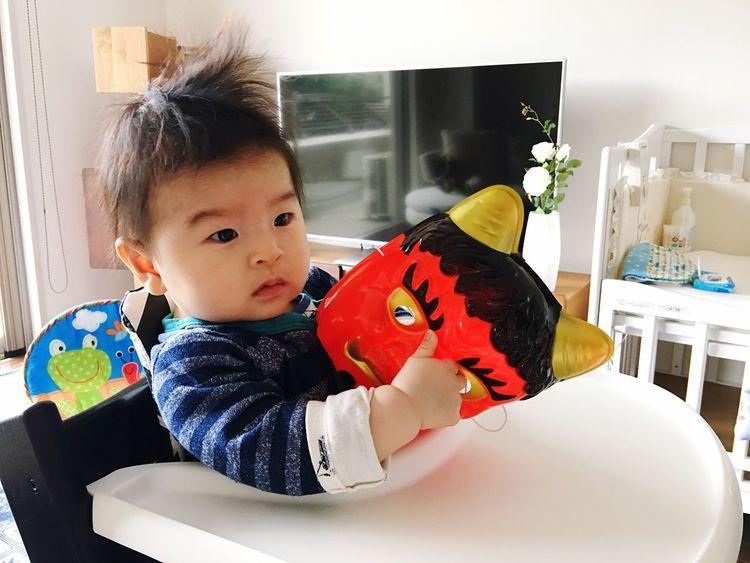 👹🆚👶🏻 ONI Babyboy Childhood Innocence Babyhood Demon 節分 Setsubun Indoors  20170203