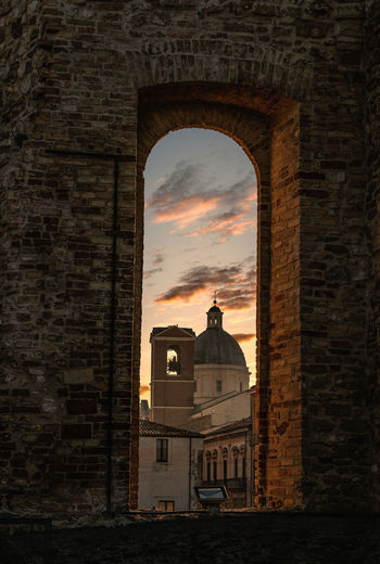 Architecture Built Structure Building Exterior Building Sky Cloud - Sky History Arch No People The Past Sunset Nature Residential District Old Wall City Outdoors Orange Color Religion Travel Destinations Brick Abruzzo Abruzzo - Italy Castle Sunset_collection