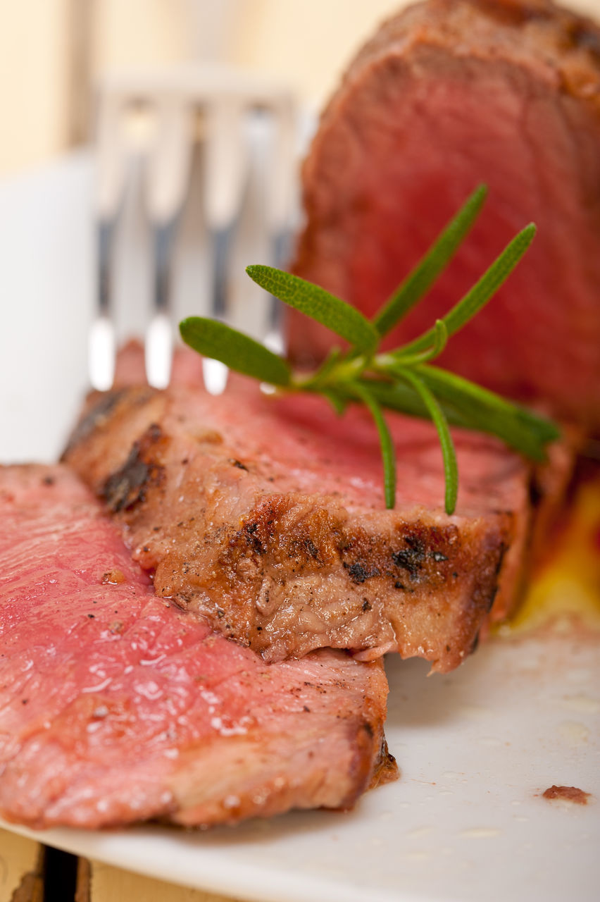 food, food and drink, close-up, indoors, meat, still life, serving size, freshness, plate, ready-to-eat, grilled, garnish, slice, focus on foreground, steak, no people, fillet, food styling, beef, healthy eating