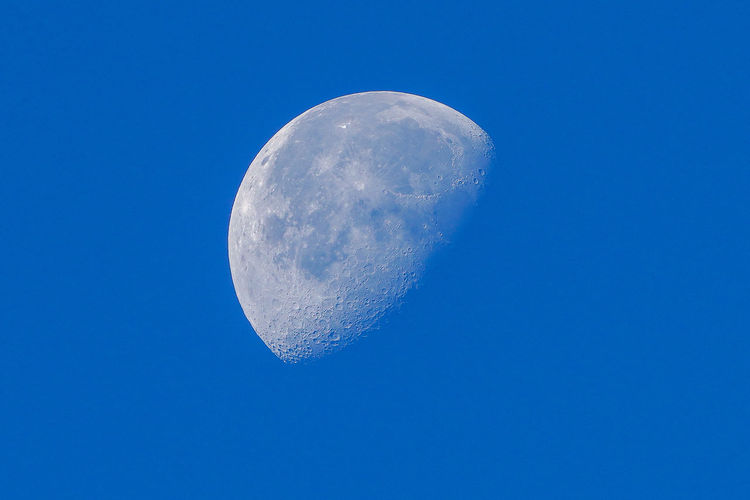 Waning moon daytime Moon Sky Space Blue Astronomy Clear Sky Moon Surface Planetary Moon Beauty In Nature No People Half Moon Astrology Space And Astronomy Science Space Exploration Tranquility Nature Waning Moon