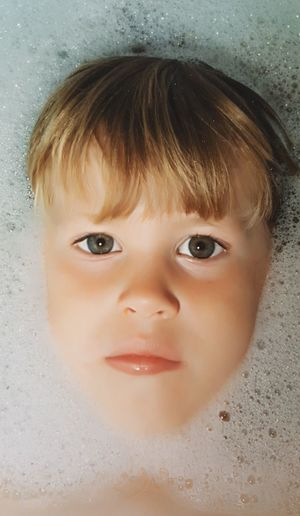 35mm Film Film Photography, Bubbles In Water Bubble Bath Portrait Child Childhood Smiling Looking At Camera Human Face Headshot Beauty Close-up