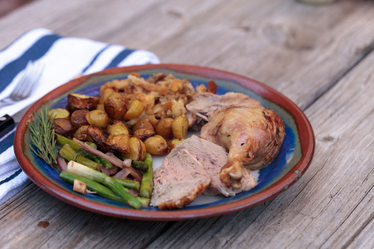 Roasted Duck In Plate On Wooden Table
