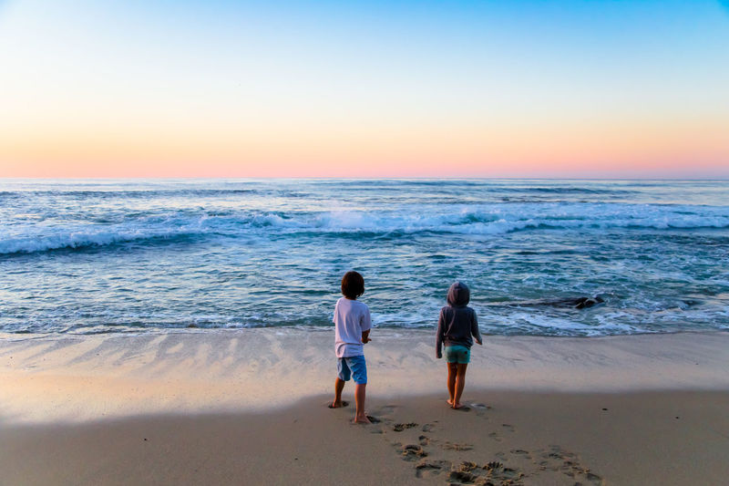 Kids playing at the beach - Sunset Beach Beautiful Blue Sky California Clear Sky Coastline Horizon Over Water Kids Ocean Outdoors Sand Sea Seascape Shore Summer Sunset, Vacations Water Wave
