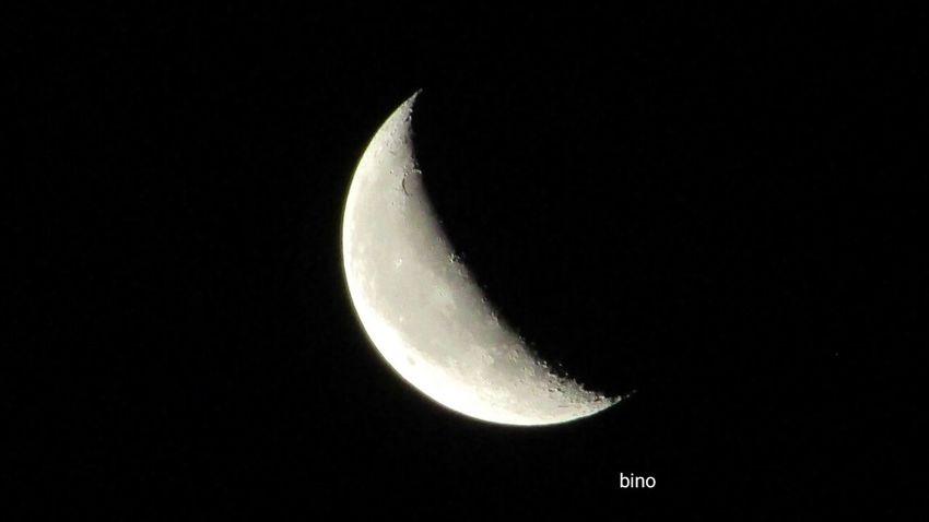 Last Night's Crescent Beautiful Moon  Moon Surface Looking Up Cadillac Sky Pure Michigan