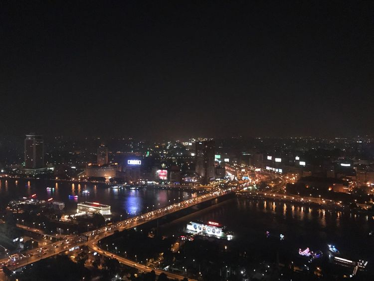 First Eyeem Photo My Year My View Leisure Activity Building Exterior City Cityscape Sky Night River Nile River Bridge View Cairo Egypt City Night Lights Boat Yacht Lights