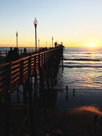 Southern California sunset on Oceanside Pier. Sea Oceanside Pier Oceanside Oceanside Sunsets Pier Sunset Sunlight
