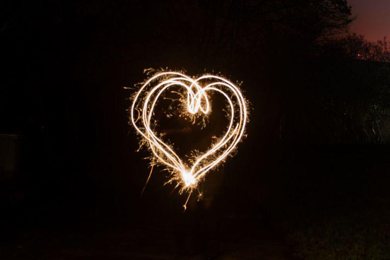 Celebration Night Long Exposure Motion Sparks Love Heart Wunderkerze Liebe Herz For A Better World...