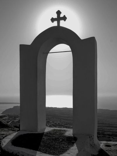 Church Greek Greek Islands Travel Greece Islands Greece Photos Travel Photography Black And White Blackandwhite Photography Black And White Photography Black & White Santorini, Greece Place Of Worship Cross Spirituality Religion History Arch City Sky Architecture Crucifix Cross Shape