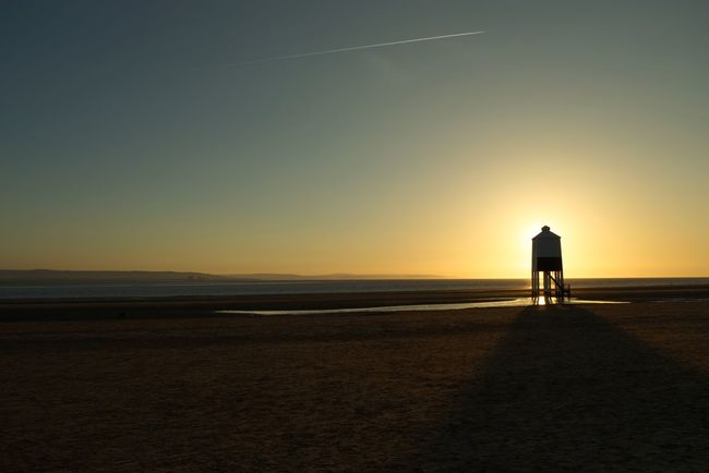 Beach Sunset Silhouette Sea Sand Nature Scenics Beauty In Nature Real People Sky Standing Tranquil Scene Water Horizon Over Water Tranquility One Person Outdoors Leisure Activity Men Vacations Lighthouse Burnham On Sea United Kingdom South West UK