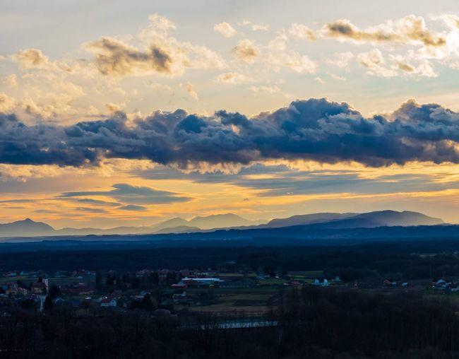 Medjimurje county on sunset. Sunset Dramatic Sky Sky Landscape Cloud - Sky Moody Sky Dramatic Landscape Atmospheric Mood Calm Tranquil Scene Countryside Romantic Sky Idyllic Scenics Tranquility