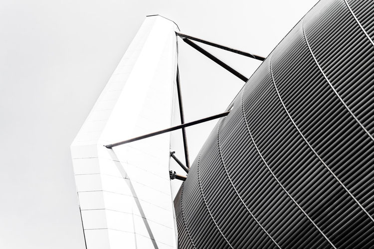 Roof PSV Eindhoven Philips Stadium Architecture Arquitectura Black And White Blanco Y Negro Built Structure Bw Clear Sky Day Estadio Low Angle View Modern No People Outdoors Psv Sky