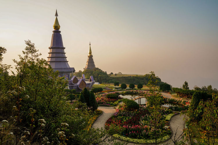 Built Structure Architecture Sky Building Exterior Plant Place Of Worship Building Tree Nature Religion Belief Spirituality No People Travel Destinations History Growth Day The Past Outdoors Spire  Doi Inthanon Chiang Mai Chiang Mai | Thailand