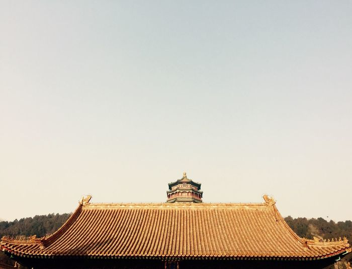 Roof of traditional building against clear sky