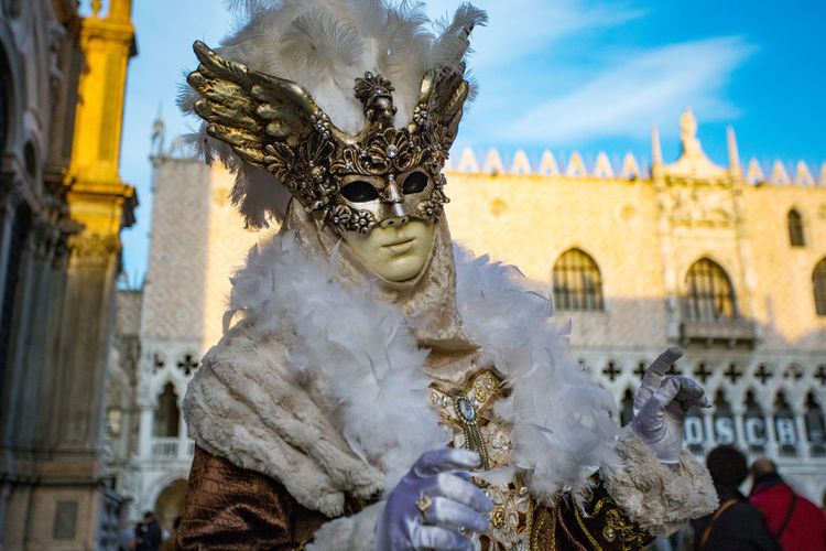 Carnaval De Venise Carnival Carnival In Venice Venezia Architecture Arts Culture And Entertainment Building Exterior Built Structure Carnival Masks Day Mask Mask - Disguise One Person Outdoors People Real People Sky Travel Destinations Venetian Mask
