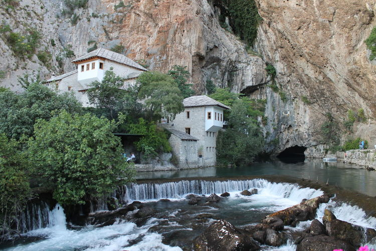 Architecture Beauty In Nature Blagaj Bosnia And Herzegovina Buna Clear Water Cliff House Nature Outdoors River Riverbank Rock Rock Formation Rock Formation Rocks And Water Rocky Mountains Water Waterfront TakeoverContrast