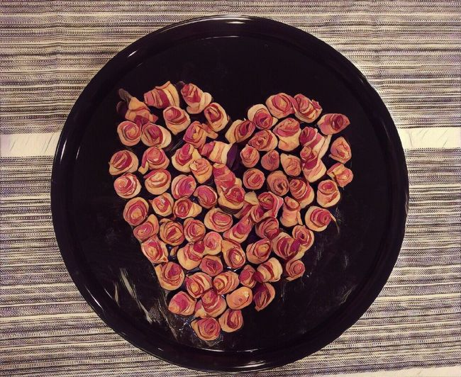 Chocolate dipped bacon roses on tray, prizmafied Red No People Indoors  Food Ready-to-eat Day On Tray Plated Food Visual Feast Bacon! Bacon❤ Chocolate Roses Heart Shape Food And Drink Food Stories