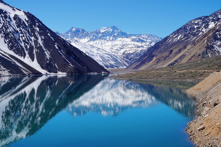 Cajon Del Maipo Chile Peppers Cilento Day Embalse El Yeso La Landscape Mountain Mountain Range Nature No People Outdoors Reflection Sky Snow Snow ❄