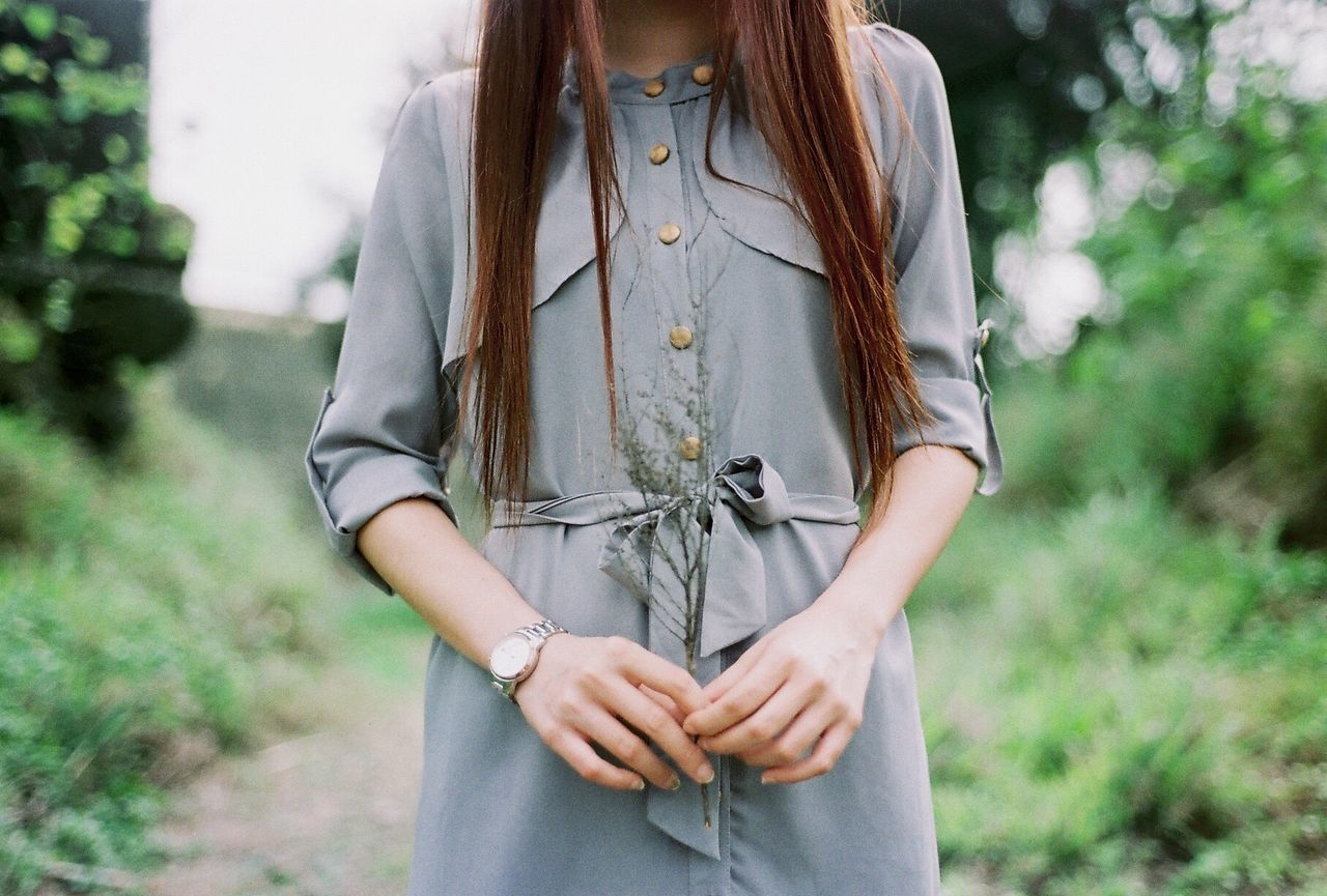 Midsection Of In Casual Clothing Woman With Long Hair