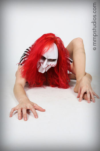 @melvinmaya @mmpstudios_com Beautiful Horror Houston Houston Texas Stripes Texas Angles Creepy Flexible Indoors  Mask Masked Model People Photographer Photography Poses Redhair Redhead Saw Studio Shot White Background Young Women