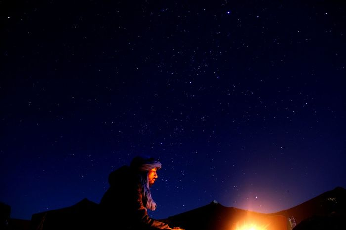 Night Star - Space Sky Milky Way Galaxy Beauty In Nature One Person Astronomy Nature Space Star Trail Outdoors Low Angle View Landscape South Morocco Sahara Desert Music Of Sahara Arts Morocco Beauty In Nature Day