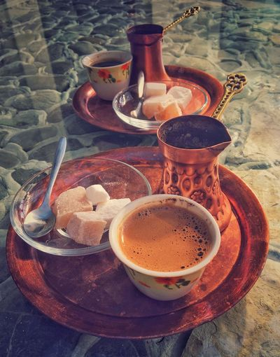 Turkish coffee Rahat Lokum Turkish Coffee Drink Food And Drink Refreshment High Angle View Coffee - Drink Table No People Freshness Day Close-up