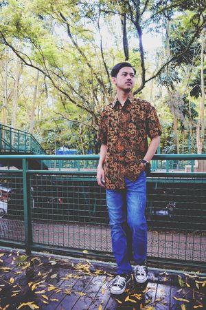 I LOVE U Batik EyeEmNewHere Full Length Front View Standing Casual Clothing One Person Real People Young Adult Tree Outdoors Day Looking At Camera Young Women Portrait Adult People Sky Adults Only Fashion Stories