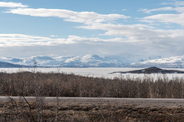 Panorama Abisko 1 Abisko Beauty In Nature Cloud - Sky Cold Temperature Day Field Lake Landscape Mountain Mountain Range Nature No People Outdoors Scenics Sky Snow Sweden Tranquil Scene Tranquility Tree Water Winter