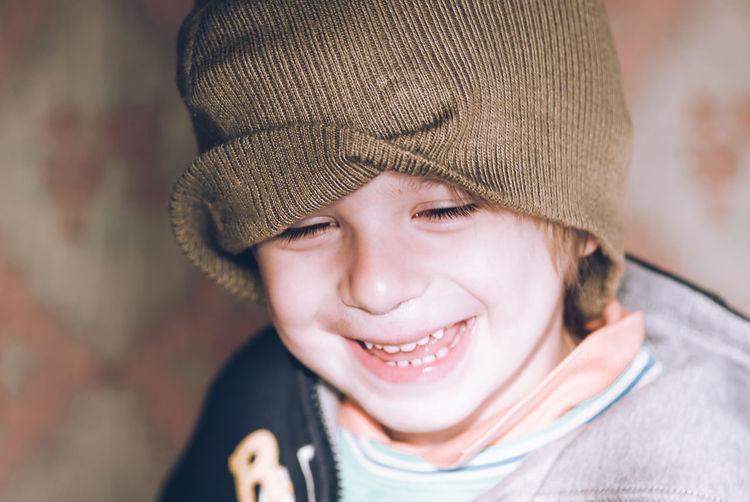 Portrait of smiling boy wearing hat