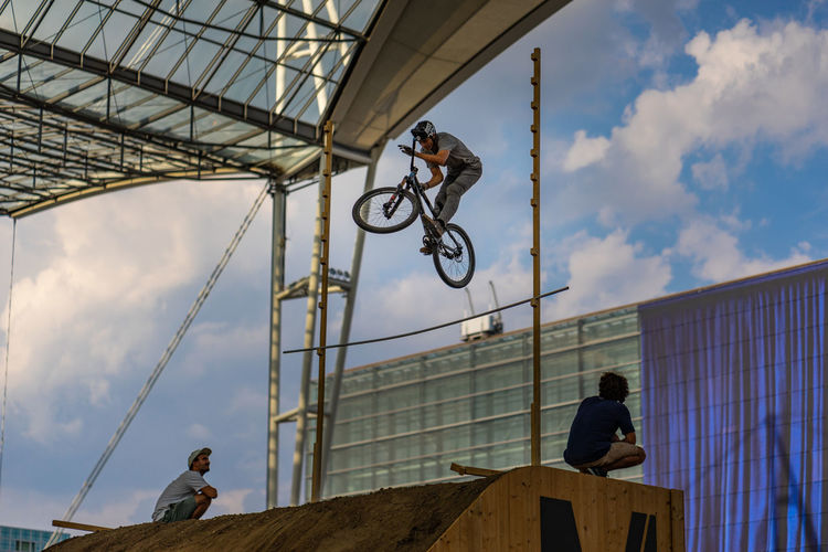 Bike and Style, Airport Munich jump competition Bike And Style, High Jump Competition Jump Velo Action Sports Airport Munich Bicycle Rack Competition Extreme Sports High Angle View Jump Ramp Loop Sky Style Xgames  Summer Sports