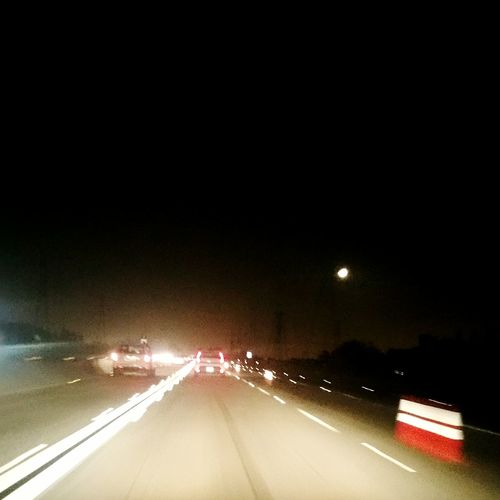 Night Driving  blurred highway Quiet Freeway At Night Too Tired To Drive