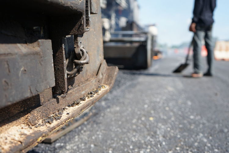 Low section of railroad tracks on city street