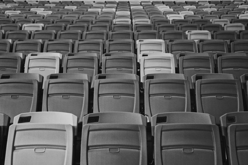 Monochrome stadium seats. Mess is more In A Row Seat Repetition Order Indoors  Empty Conformity Large Group Of Objects Abundance No People Arrangement Full Frame Auditorium Backgrounds Day EyeEmNewHere Singapore Arts Culture And Entertainment Travel Destinations Lifestyles Blackandwhite Abstract Abstract Photography Monochrome Pattern