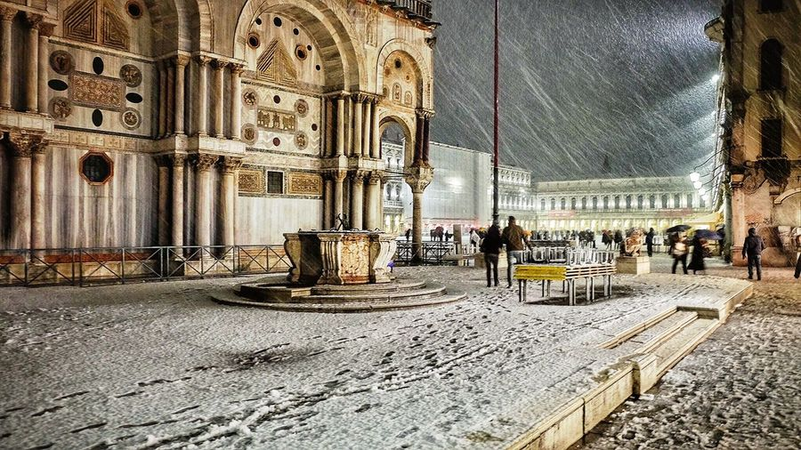 Winter in San Marco, Venice Venice By Night Venice, Italy San Marco San Marco Square Winter Snow Venice Snow Snow In Venice Piazza San Marco