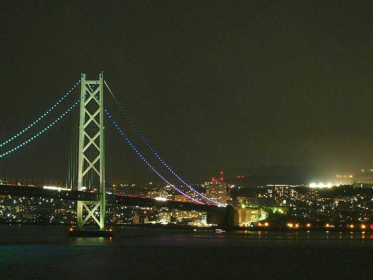Bridge View Night View Kobe,japan Akashi Kaikyo