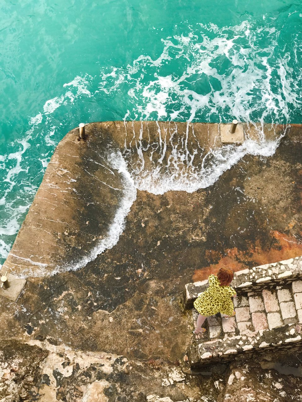 High Angle View Of Woman On Shore