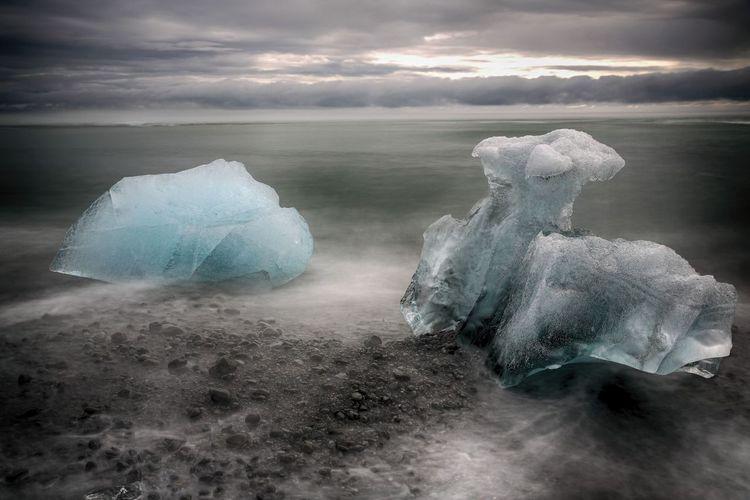 Scenic View Of Jokulsarlon During Winter At Dusk