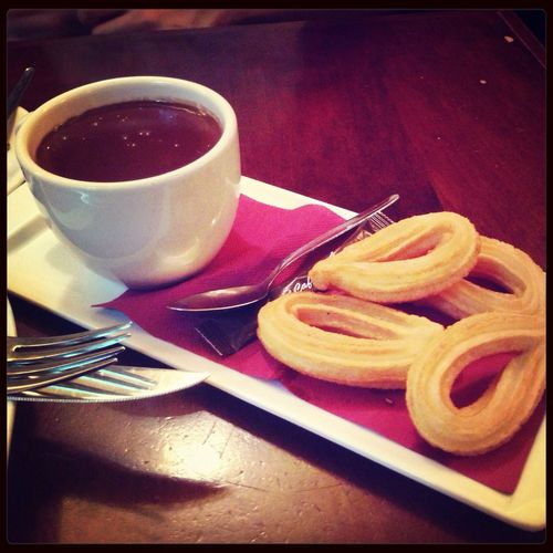 Cafeteria Enjoying A Meal Churros Hot Chocolate