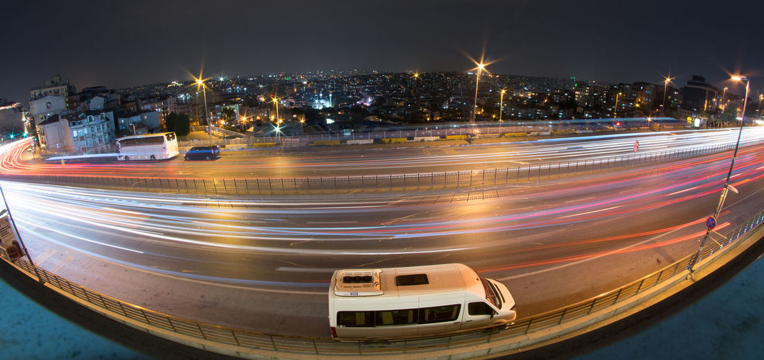 Night traffic in istanbul Illuminated City Night Building Exterior Architecture Built Structure Motion Transportation Long Exposure Speed Light Trail Blurred Motion Street No People Building City Life Cityscape Road Mode Of Transportation High Angle View Office Building Exterior Skyscraper Istanbul Turkey