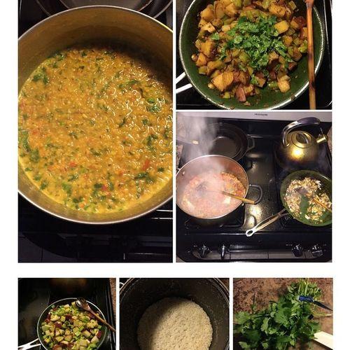 Vegan Whatveganseat Redsplitlentils Redpotatoes broccolistems organic nongmo lunch