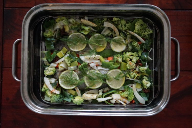 Directly Above Shot Of Salad In Metal Container On Table