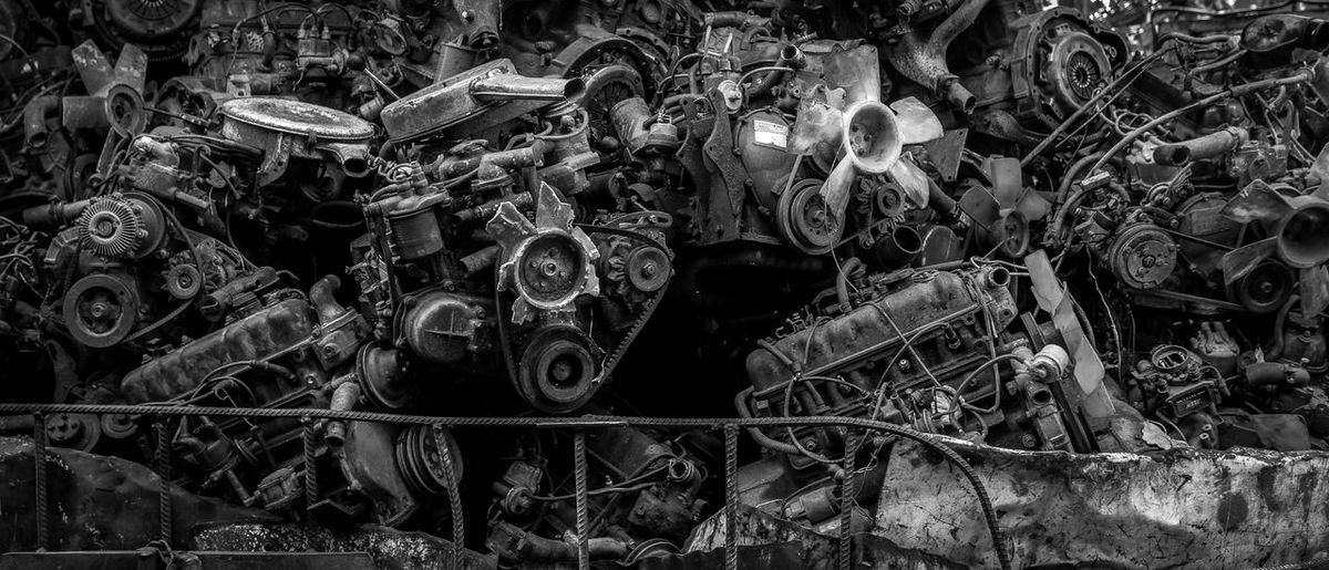 Backgrounds Car Parts Engine Junk Junkyard Machine Part Metal Metallic No People Rusty Steel