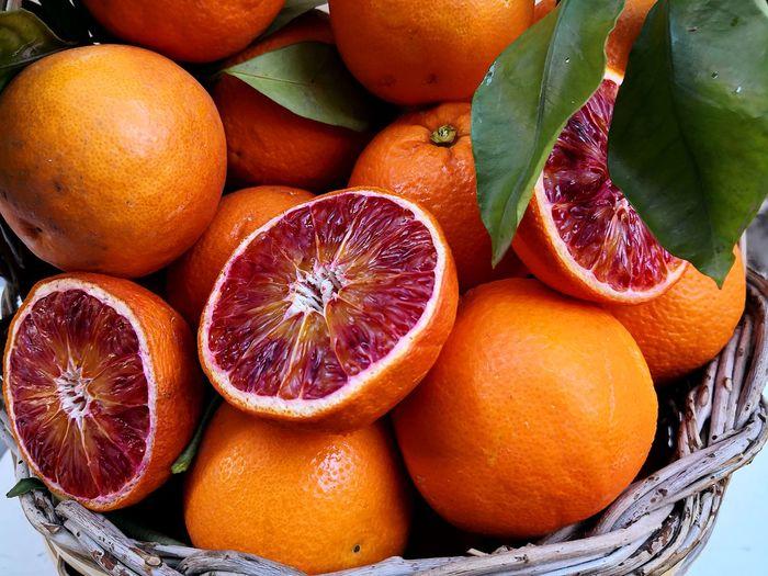Close-up of oranges in market