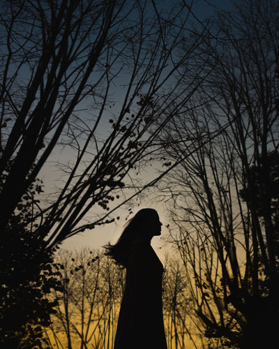 Silhouette woman standing by bare tree against sky