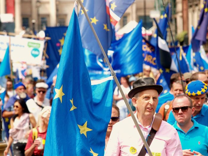 March For The Peoples vote. Whitehall. London. 23/06/2018 Remain Remainers Europe Brexit Brexit Protest British Politics Politics And Government Protest London Whitehall Protesters London News Steve Merrick Stevesevilempire Celebration Hat Men Clothing Focus On Foreground Group Of People Adult