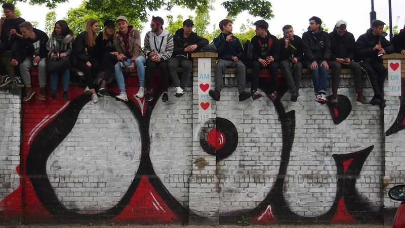 Day Large Group Of People Outdoors People City Streetphotography Streetphoto EyEm New Here EyeEmNewHere Real People Wall Chillout Relaxation Youths Youth Group Youth Sitting Outside Sitting The Week On EyeEm Berlin Love Discover Berlin