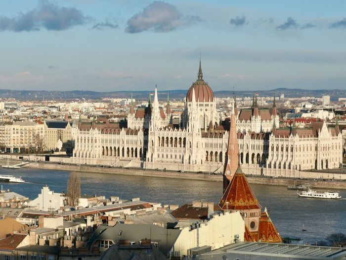 Beautiful Parliament in Budapest Budapest Danube EyeEm Selects Building Exterior Architecture Built Structure City Sky Water Building Cloud - Sky Nature High Angle View Day No People Cityscape Spire  Travel Destinations Religion Tourism Place Of Worship Travel Outdoors