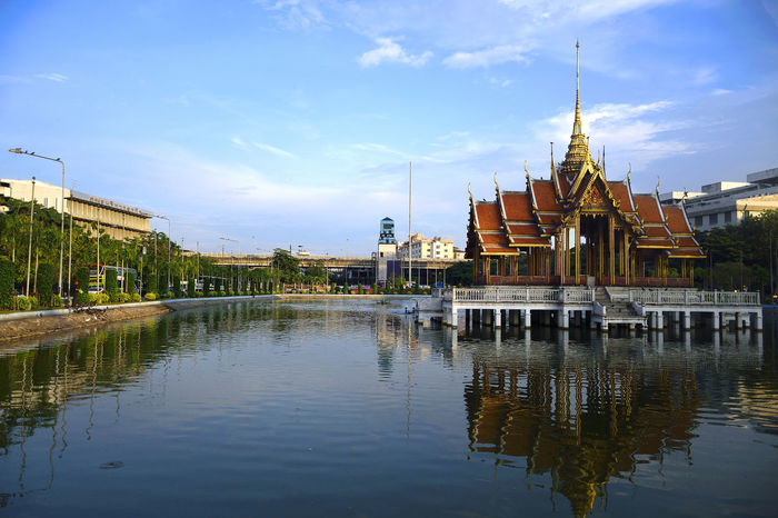 Architecture Built Structure Building Buildings Water Land Landscape Cityscape Art Culture View Temple ASIA Asian Art Thai Thailand Blue Sky Blue Sky