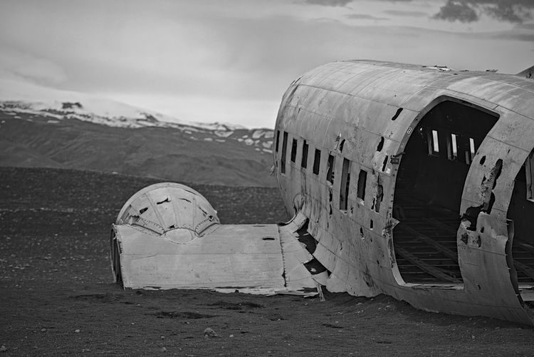 Abandoned Transportation Air Vehicle Day Damaged Airplane No People Outdoors Ruined Iceland Sólheimasandur Plane Wreckage Sólheimasandur Plane Wreck Desolate DC-3 Airframe