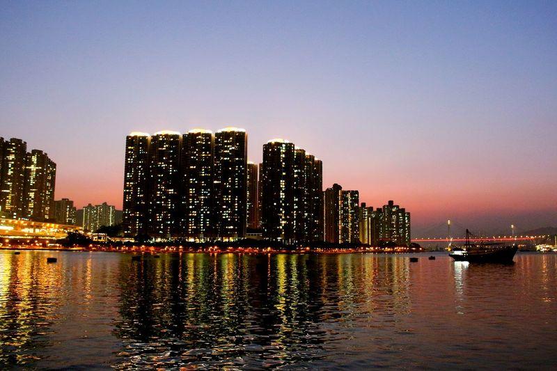 2015 Life In Hong Kong· Tsuen Wan Sea View Buildings Ting Kau Bridge 荃灣 汀九橋 海濱長廊 HongKong Nightphotography